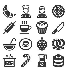 bakery and pastries cooking icons set on white vector image