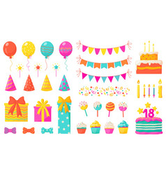 Birthday decoration kids party design elements vector