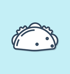 Blue line taco with tortilla icon isolated on blue vector