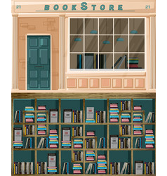 bookstore facade architecture design vector image