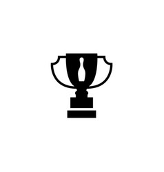 Bowling tournament winner cup flat icon vector