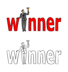 businessman holding a trophy at the red word vector image