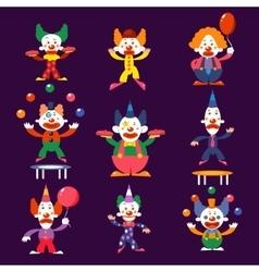 Cartoon Clowns Set vector