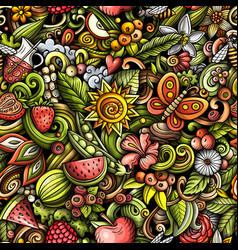 Cartoon doodles summer seamless pattern vector