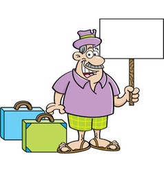 Cartoon man with suitcases holding a sign vector image