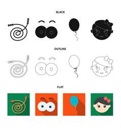 Children toy blackflatoutline icons in set vector