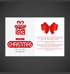 christmas card with giftbox and red bow vector image