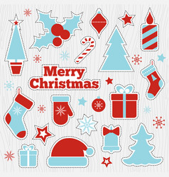 Christmas printable stickers fashion patches vector