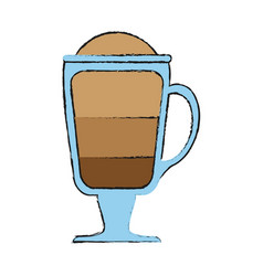 Coffee beverage with foam in glass cup icon image vector