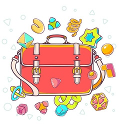 Colorful of red shoulder bag on white backgr vector
