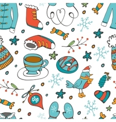 Colorful seamless pattern with winter related hand vector