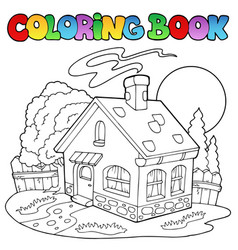 coloring book with small house vector image
