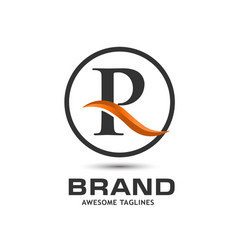 corporate letter r swoosh logo vector image