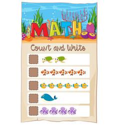 count number math worksheet vector image