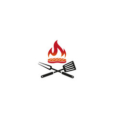 creative barbecue steak kitchen utensils fire vector image