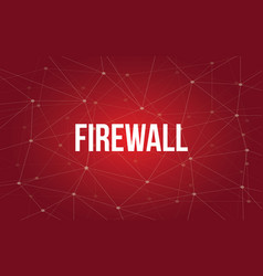 Firewall white text with red vector