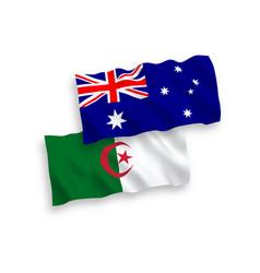 Flags australia and algeria on a white vector