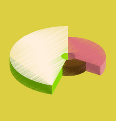 flat shading style icon pie chart infographics vector image