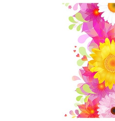 Flower Background With Color Gerbers And Leafs vector image