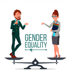 Gender equality man and woman standing on vector