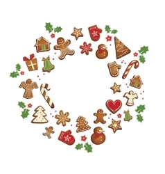 Gingerbread cookies set arranged in as holiday vector
