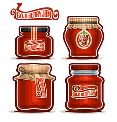 Goji berry jam in glass jars vector