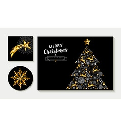 Gold christmas pine tree card design template set vector image