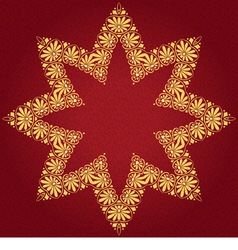 gold ornament on a red background vector image