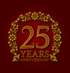 golden emblem of twenty fifth years anniversary vector image