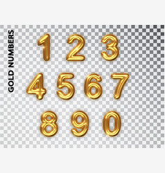 Golden numbers set isolated realistic gold shiny vector