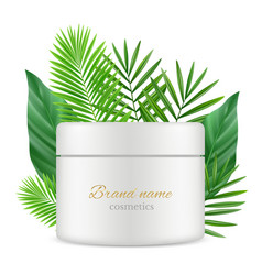 green leaves and cosmetics tube box realistic vector image