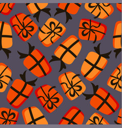 halloween seamless pattern with gift vector image
