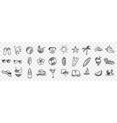 hand drawn summer symbols doodle set vector image
