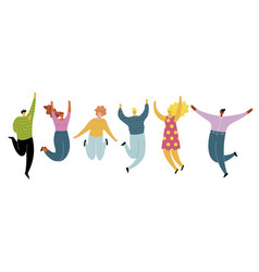 happy jumping people set cheerful and active vector image