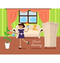 House Cleaning Concept In Flat Design vector