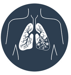 Icon of lung disease black vector