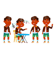 indian boy kindergarten kid poses set baby vector image