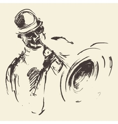 Jazz poster Man playing saxophone drawn sketch vector image