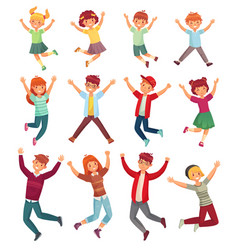 Jumping kids excited children jump happy jumped vector