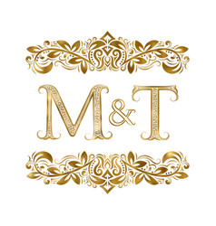 m and t vintage initials logo symbol letters vector image