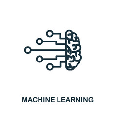 Machine learning icon outline style thin line vector
