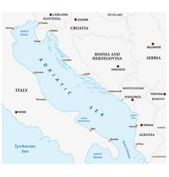 map adriatic sea europe vector image
