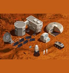 Mars colonization isometric background vector