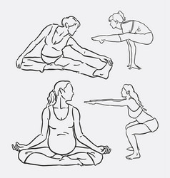 meditation yoga sport hand drawing vector image