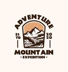 Mountain adventure emblem logo template vector