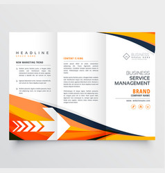orange business tri fold leaflet brochure design vector image