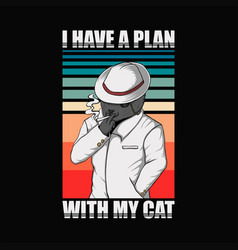 plan with cat retro vector image