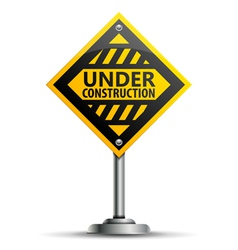 Pole with Under Construction Sign vector image