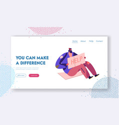 Poverty unemployment landing page homeless vector