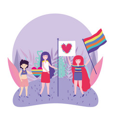 pride parade lgbt community people with flags vector image